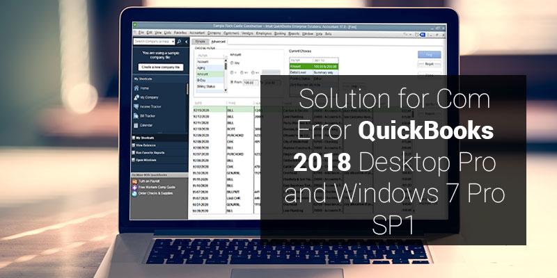 Com Error in QuickBooks 2018